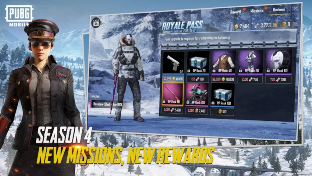 Image showing the new rewards available for Season 4