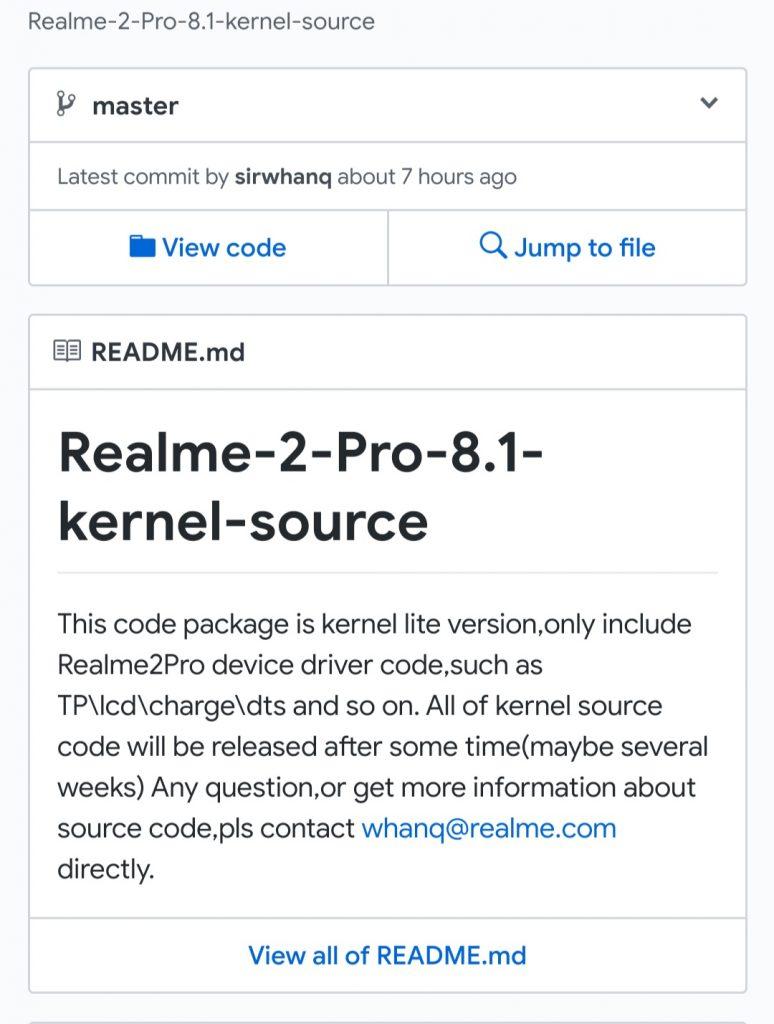 Realme 2 Pro Source Code on Github