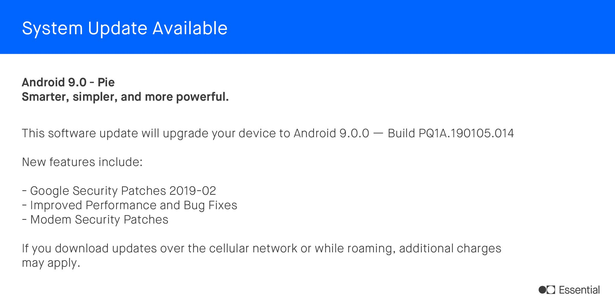 February Security Patch Update for Essential PH1