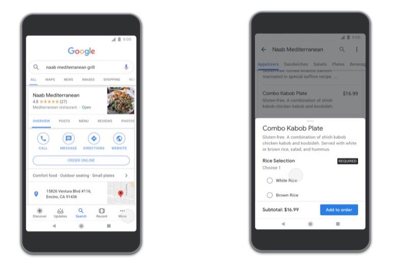 Google Food Ordering