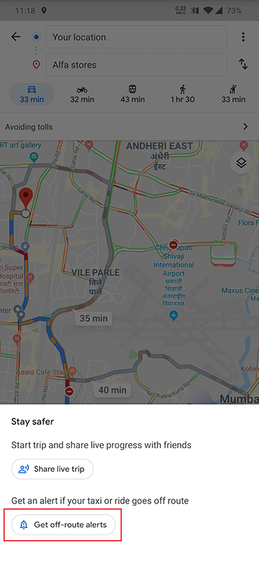 Google Maps Off-route
