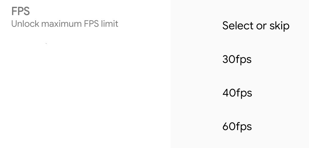 FPS Options on PUBG Mobile GFX Tool