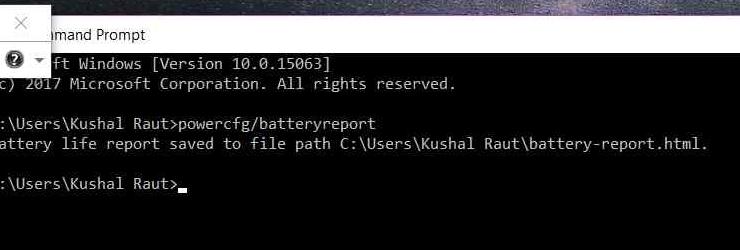 powercfg/battery command on Windows